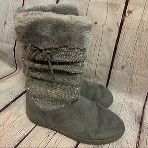 Rampage girls tille pewter fur & sparkle boot